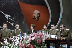 USSR pilot-cosmonauts at a TV studio (from left to right): Pavel Popovich, Yuri Gagarin, Valentina Tereshkova, Valeri Bykovsky, Andrian Nikolayev and German Titov.