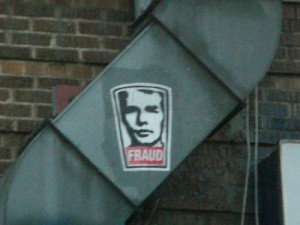 """Fraud by Michele Hubacek, in the style of """"Obey"""" by Shepard Fairey"""