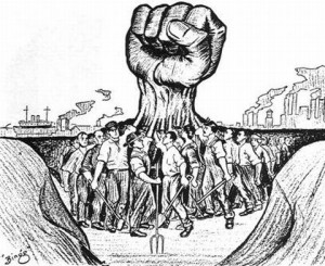Workers joining fists to create one centralised fist.