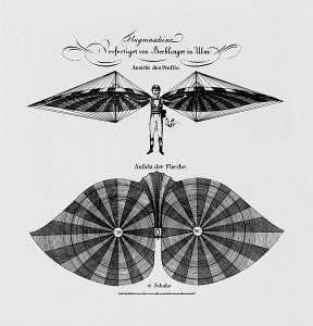 "Construction design of the plane of Albrecht Berblinger, a flight pioneer called ""Schneider von Ulm"" (tailor from Ulm)."