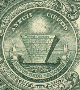 Upside-down Pyramid on dollar bill.