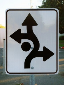 Sign with multiple turns.