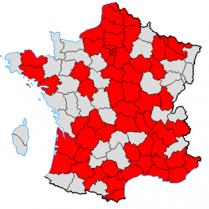The red provinces mark the PCF's representation at a regional level