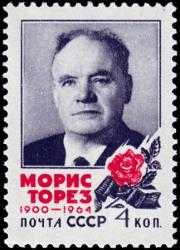 A Soviet stamp commentating long-time PCF leader Maurice Thorez