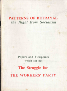 "Cover of the ""Patterns of Betrayal: the flight from socialism"" pamphlet"