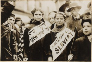 Image of Labour Bund campaign against child wage slavery.