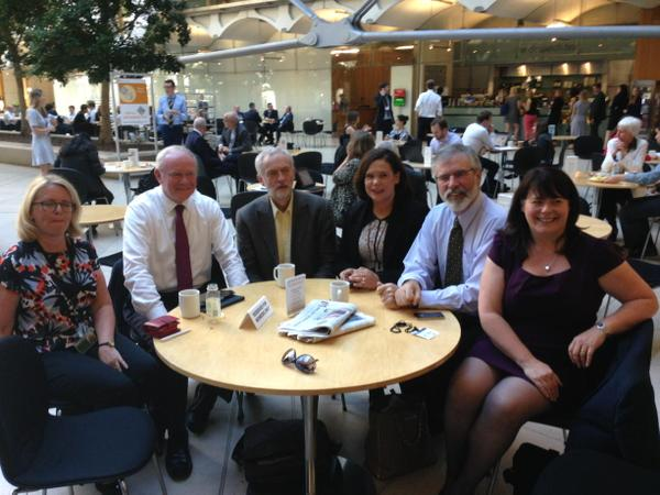 Jeremy Corbyn sitting with Gerry Adams and other members of the Sinn Féin leadership at Portcullis House